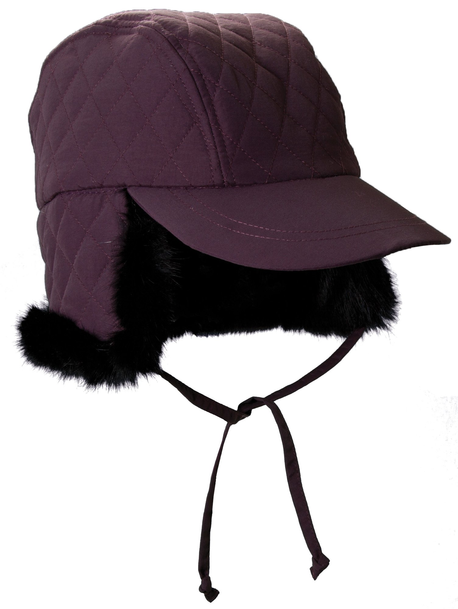Petite Small Purple Eggplant Quilted Winter Rain Hat, Ear Warmer Cuff - Trapper Hat