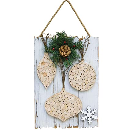 Hanging Christmas Ornaments Silhouette.White Cork Wall Art Christmas Sign With Greenery Hanging Holiday Decoration Ornaments