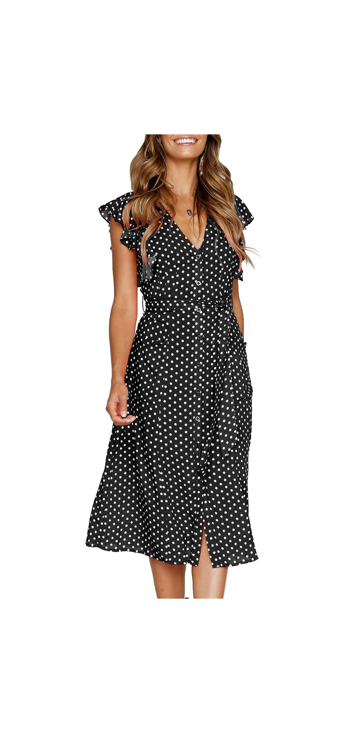 Women's Summer Boho Polka Dot Sleeveless V Neck Swing