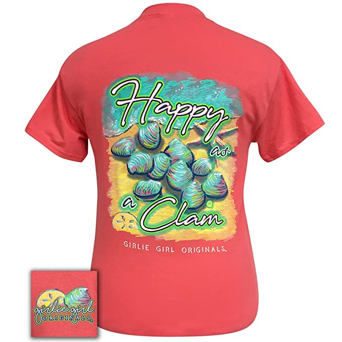 254eebc707c1 Girlie Girl Happy As A Clam Ends Short Sleeve T-Shirt Adult (Small)