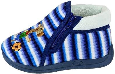 Mirak SAFARI Unisex Kids Cosy Comfort Football Zip Up Bootie Slippers Blue