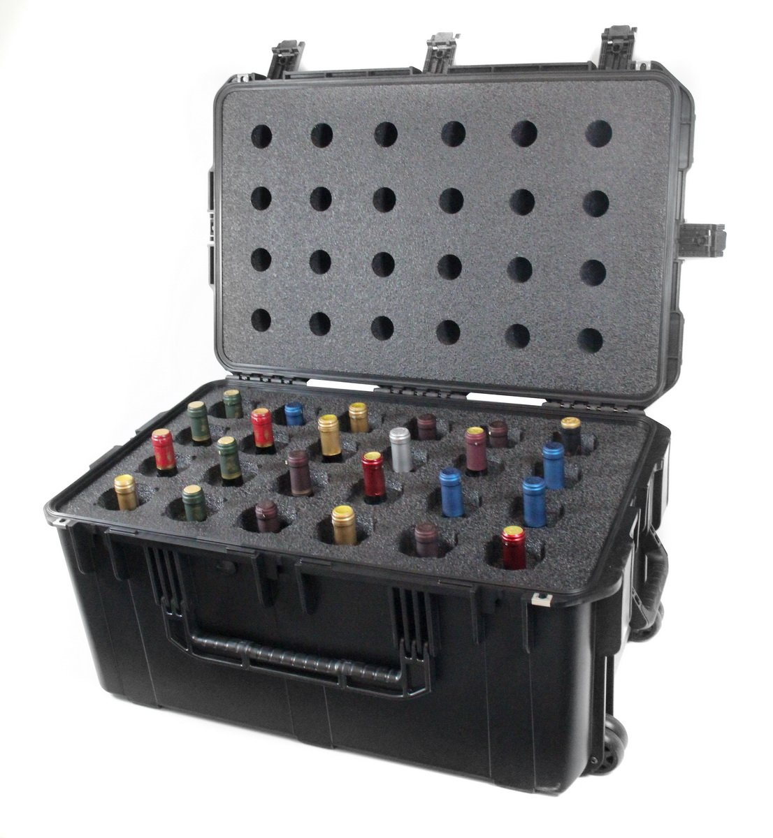 CasePro CP-WINE-24B 24-Bottle Wine Carrier with Wheels, Black by ProCase