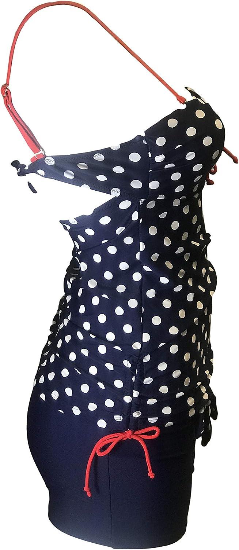 Women Two Piece Vintage Tankini Sets Padded Polka dot Printed Swimming