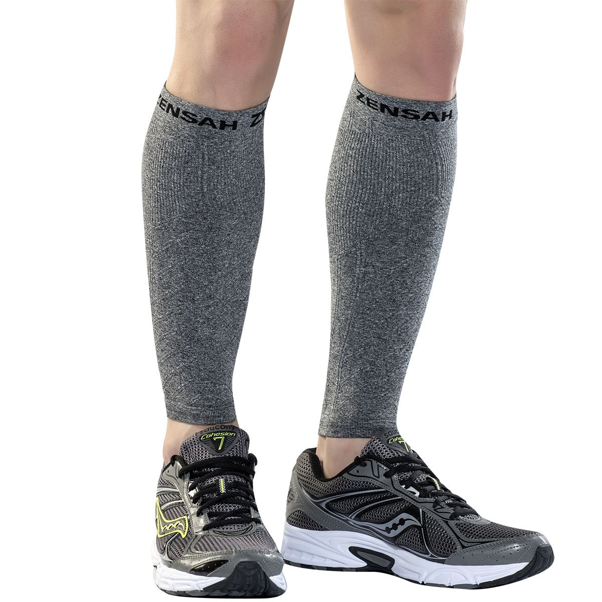 Zensah Compression Leg Sleeves, Heather Grey, X-Small/Small