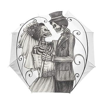 Paraguas automático de boda con diseño de calavera de día de los muertos, resistente al