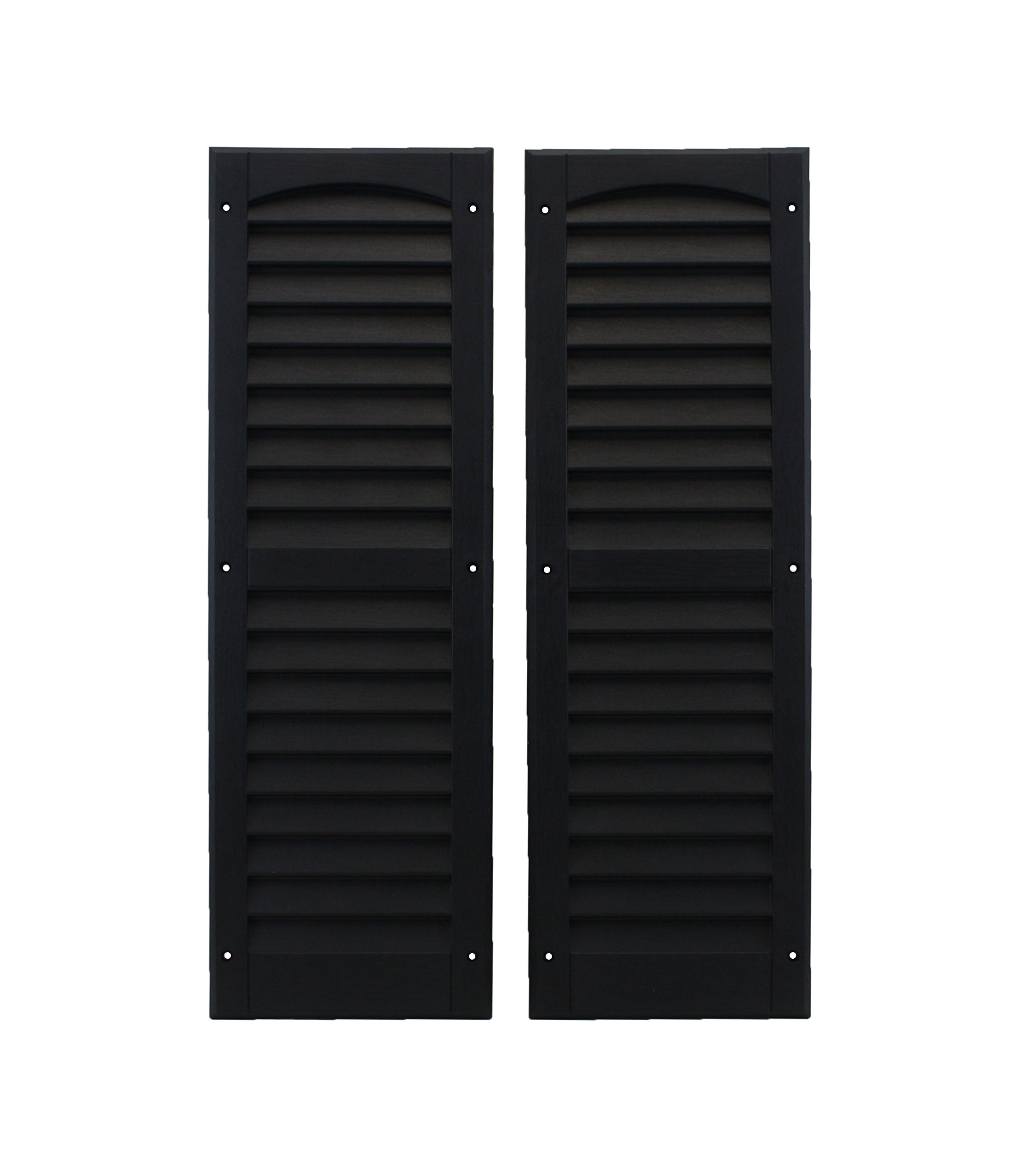 Louvered Shed Shutter or Playhouse Shutter Black 9'' X 27'' Sold By the Pair