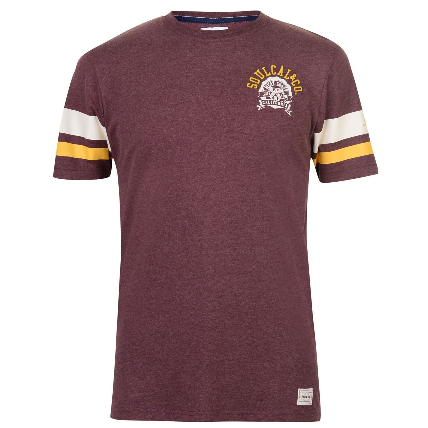 SoulCal Stripe Sleeve T-Shirt Mens Tee Shirt Top