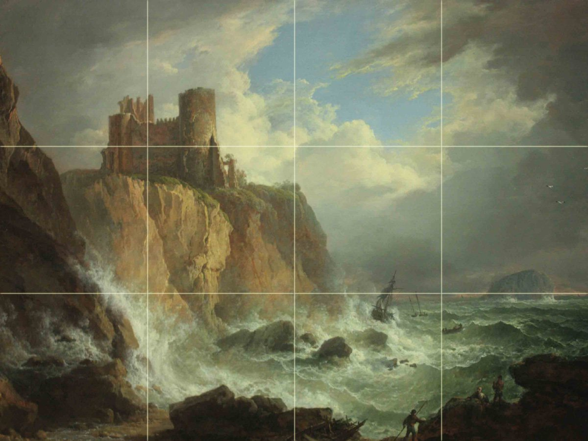 View of Tantallon Castle and the Bass Rock byAlexander Nasmyth Tile Mural Kitchen Bathroom Wall Backsplash Behind Stove Range Sink Splashback 4x3 8'' Ceramic, Matte by FlekmanArt