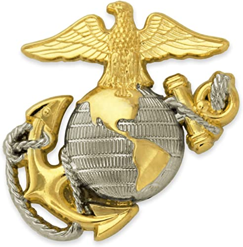PinMart U.S Marine Corps USMC Emblem Silver and Gold Military Lapel Pin