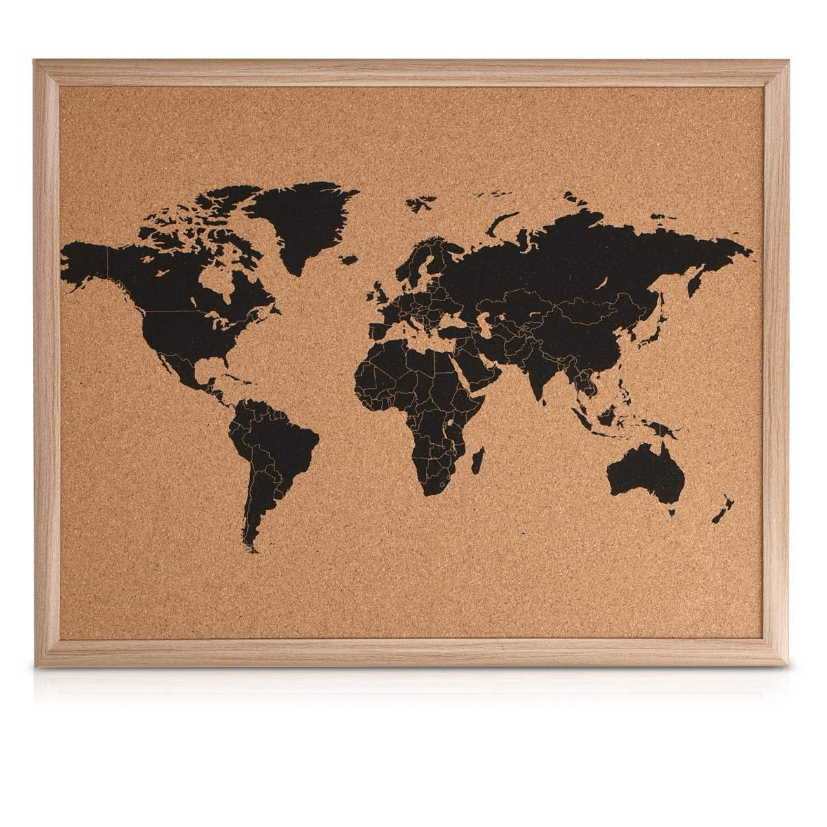 Navaris tablero de corcho con marco - Pizarra de mapa mundial - Tablero de notas de mapamundi 50x40 - Con 10 chinchetas y kit de montaje