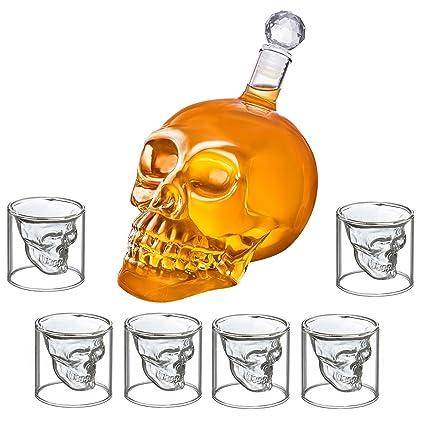 Juego de botella y 6 vasos de chupito con forma de calavera, botella de calavera de 350 ml, vidrio, 6 Schnapsgläser 25ml + 350ml Karaffe