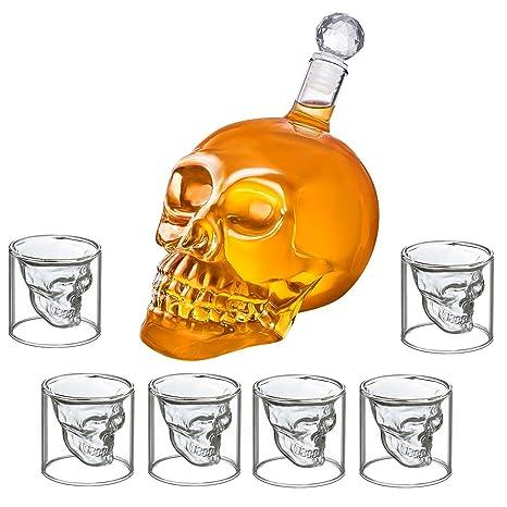 Juego de botella y 6 vasos de chupito con forma de calavera, botella de calavera