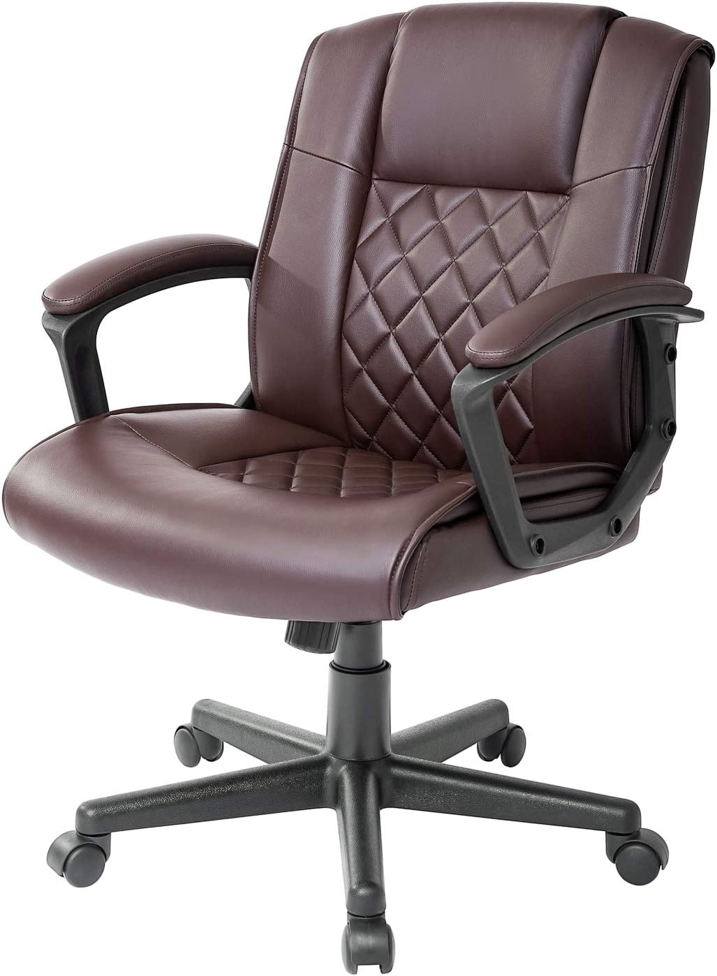 Qulomvs Ergonomic Office Desk Chair with Wheels Back Support Computer Executive Task Chair with Arms 360 Swivel (Brown)