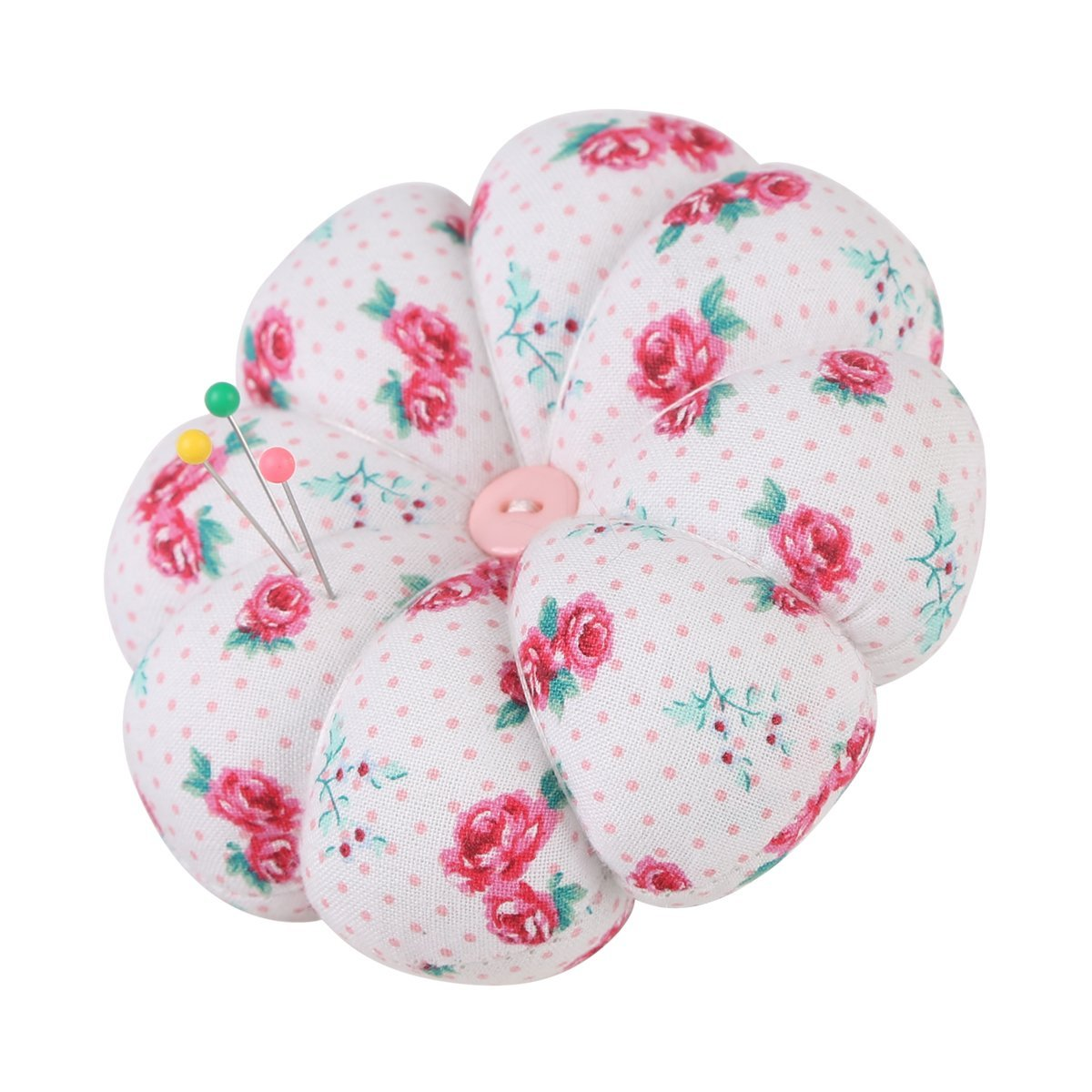 NEOVIVA Flower Shaped Small Pincushions for Sewing with Wrist Band, Style Blossom, Pack of 2, Floral Fuchsia Roses LTD. PinCushion_Blossom