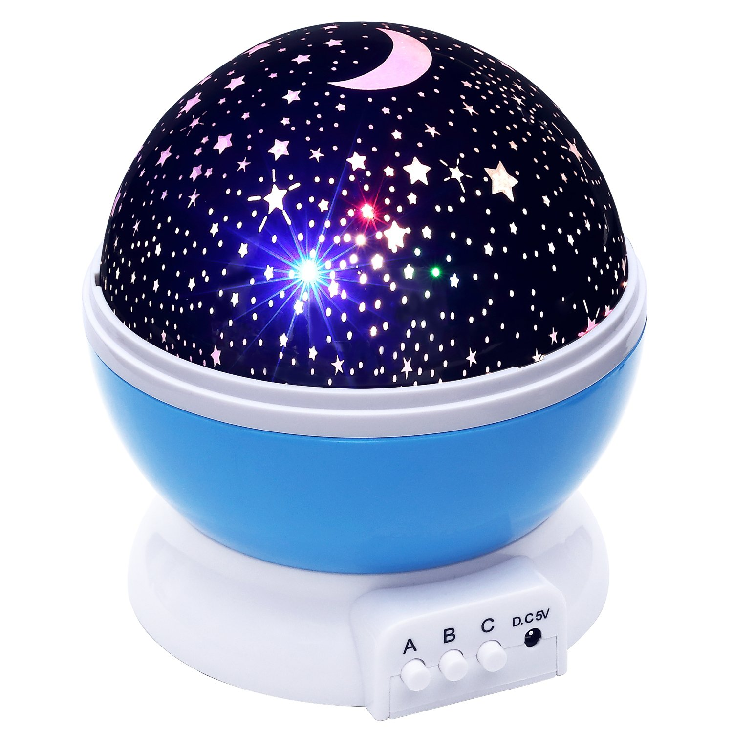 Amazon lizber baby night light moon star projector 360 amazon lizber baby night light moon star projector 360 degree rotation 4 led bulbs 9 light color changing with usb cable unique gifts for men women mozeypictures Image collections