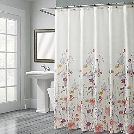 Pressed Flowers 72 Inch X 96 Inch Shower Curtain, Watercolor Wildflowers  And Daisies