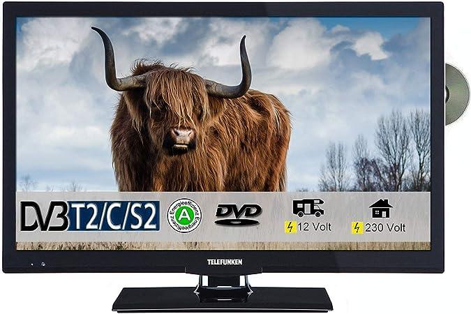 Telefunken l22 F272 K4dv LED TV de 22 pulgadas 55 cm TV con DVD DVB-S/S2, DVB-T2, DVB-C, USB, clase de eficiencia energética A +, 230 V/12 V: Amazon.es: Electrónica