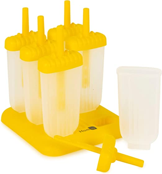 Homiu Popsicle Moulds DIY Non-stick Features 6 Pack Easy To Clean Includes Drip Tray Dishwasher and Freezer Safe Create Your Own Green