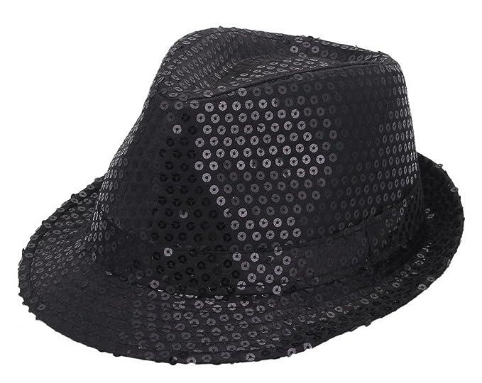 YueLian Unisex Cotton Sequin Fedora Brim Party Stage Dance Show Hat (Black) 4ea26a9aa37