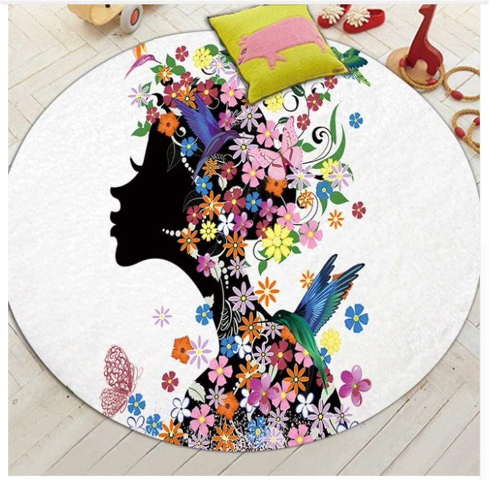 Cartoon Series Fairy Printed Children Carpets Baby Crawling Anti Slip Round Area Rugs For Living Room Bat Mat Diameter 80cm A Kitchen Dining