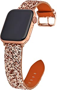 Gsmartive Glitter band Compatible with Apple Watch band 38mm 40mm 42mm 44mm,Bling Sparkle Dressy Replacement Strap compatible for iWatch Series 5,4,3,2,1 Sports & Edition Women (NRose Gold, 38mm/40mm)