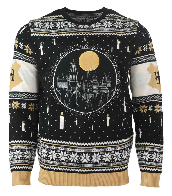Harry Potter Christmas Jumper Hogwarts Skyline Candle Light Up Official Knitted Harry Potter Merch