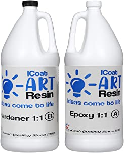 iCoat Art Resin 1gal kit Crystal Clear, Non-Toxic, Epoxy and Hardener 1:1