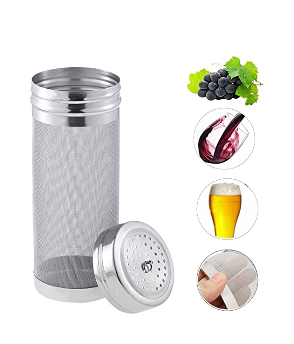 Beer Dry Hopper Filter,300 Micron Mesh Stainless Steel Hop Strainer Cartridge, Homebrew Hops Beer & Tea Kettle Brew Filter by Fashionclubs (18cm x 7cm)
