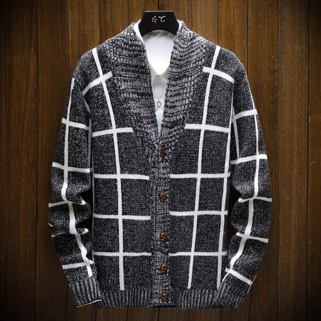 IFOUNDYOU Mens Chunky Knit Jumper,Sale Mens Fashion Knitted Cardigan Sweater Coat Fashion Warm Sweaters Mens Cardigan Mens Knitted Jumper 2019 New
