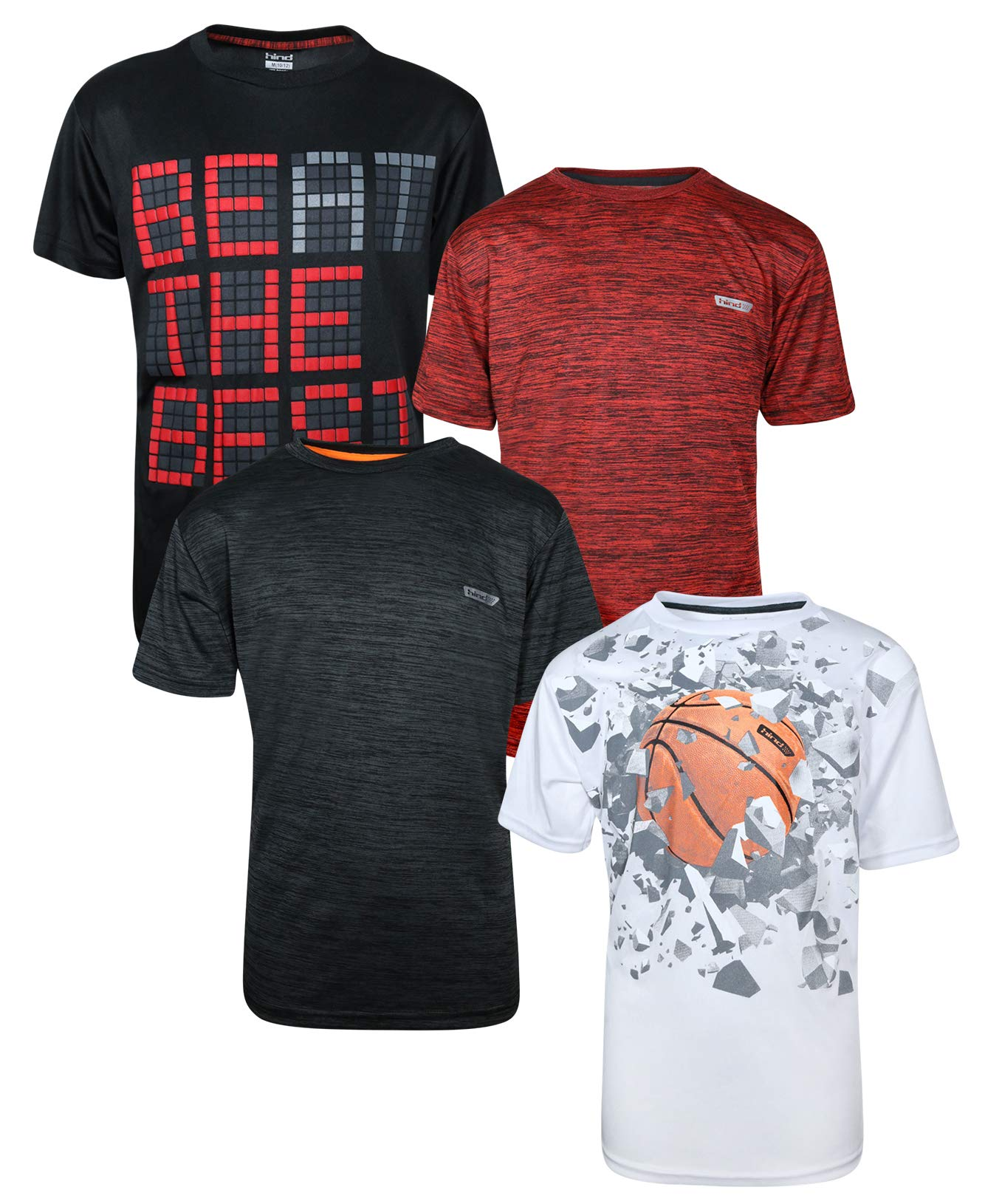 Hind Boys Performance Quick Dry Athletic Sports T-Shirt (4-Pack) (Beat The Best, Medium / 10-12)'