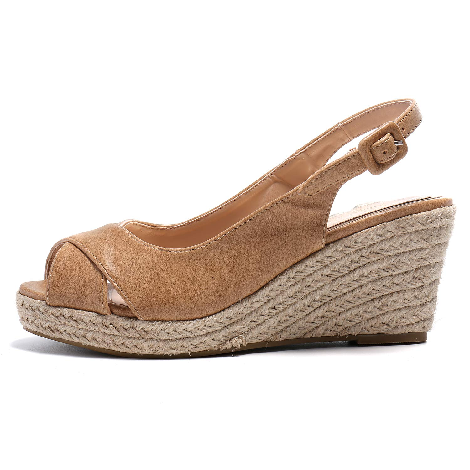 80be37634e5 Alexis Leroy Women's Peep Toe Crisscross Strappy Slingback Espadrilles  Wedge Sandals