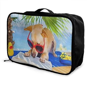 Travel Luggage Duffle Bag Lightweight Portable Handbag Duck Dog Large Capacity Waterproof Foldable Storage Tote