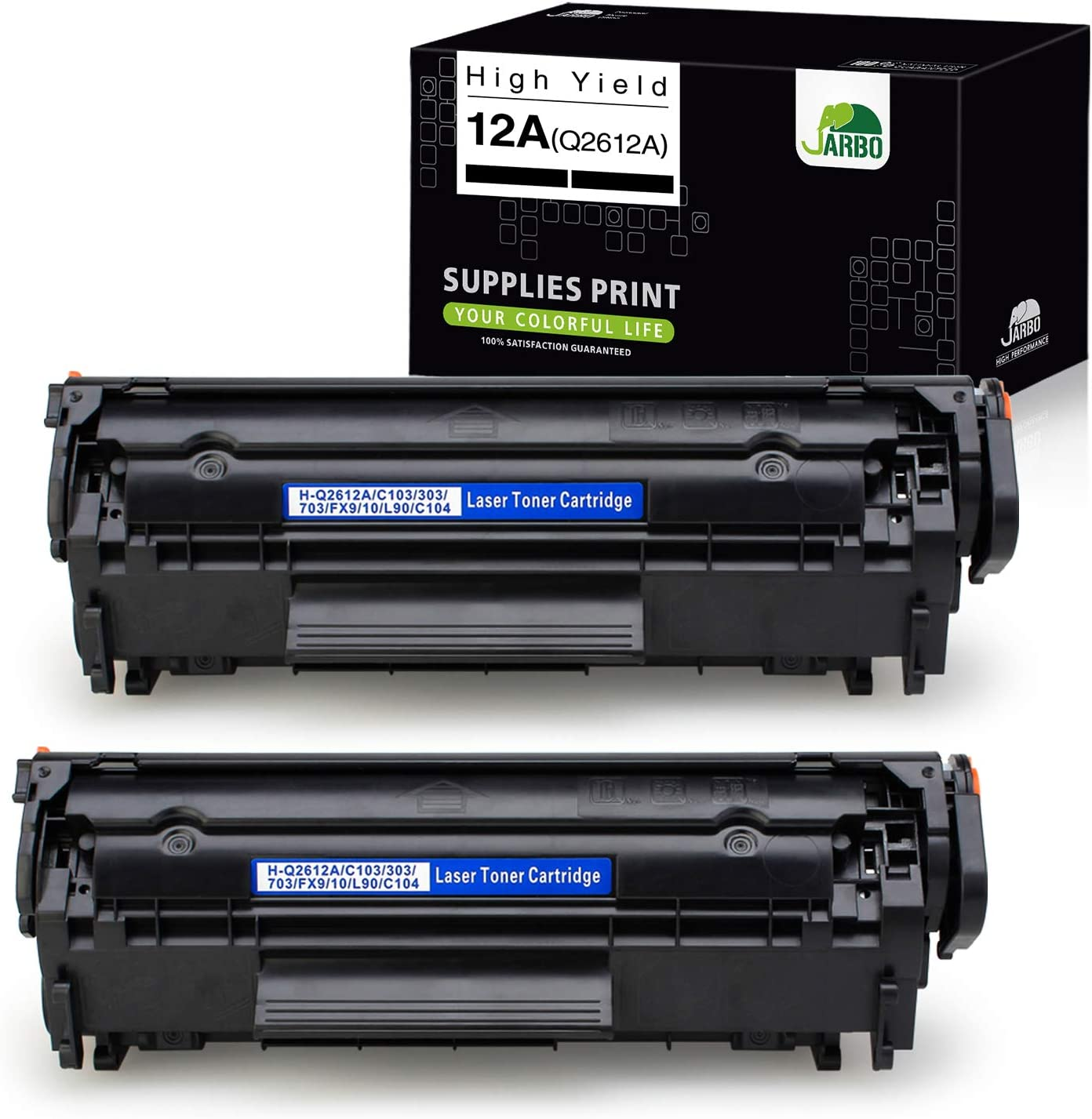 JARBO Compatible Toner Cartridges Replacement for HP 12A Q2612A, Use with Laserjet 1020 1012 1022 1010 1018 1022n 3015 3030 3050 3052 3055 M1319F Printer (Black), 2-Pack