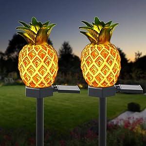 Solar Garden Decorative Lights Outdoor,2 Pack Pineapple Stake Waterproof Landscape Lights, Solar Landscape Lighting Light for Lawn Patio Yard(Pineapple Decor)