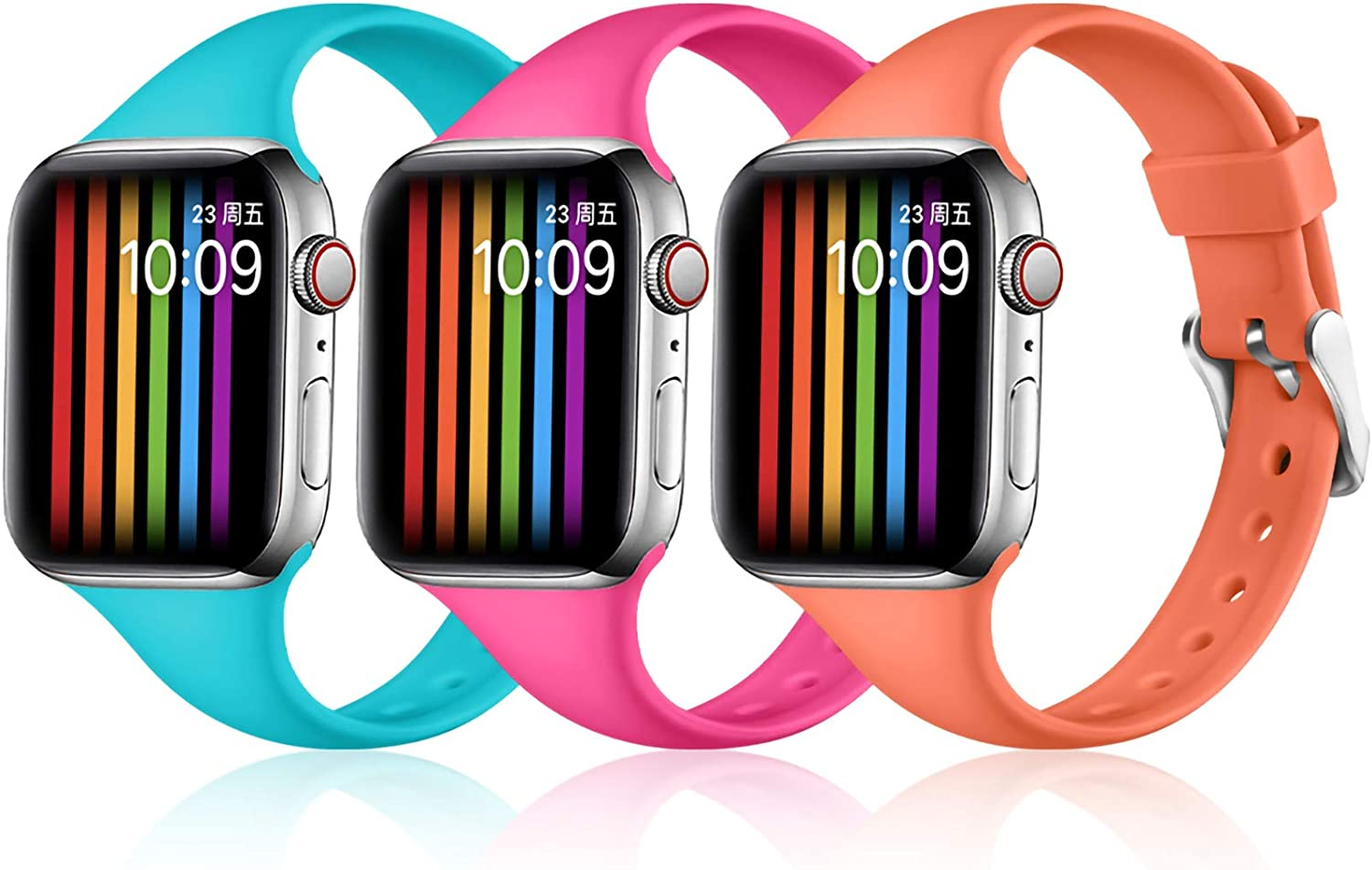 Easuny Slim Band Compatible with Apple Watch 40mm 38mm Women Men, Soft Thin Silicone Strap for Apple Watch SE Series 6 5 4 /3 2 1 Replacement Accessory,(Teal/Rose Red/Coral) M/L