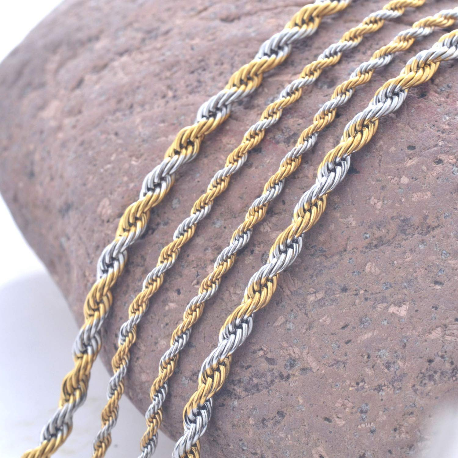 Workings Width 2mm and 4mm Stainless Steel Rope Chain Goldlace Statement 316L Stainless Steel Twistedlace Gold Chain