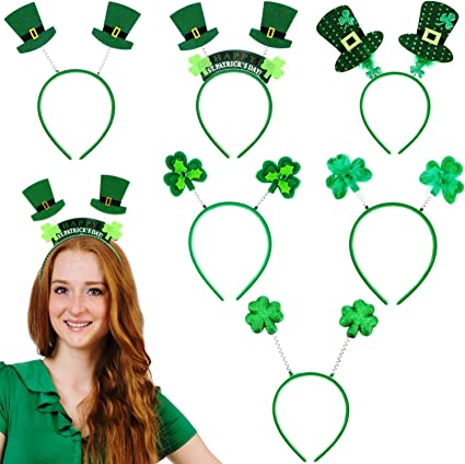 Patricks Day Headbands Shamrock Head Boppers Head Hoop for Costume Party Accessory Leinuosen 6 Pieces St 6 Styles