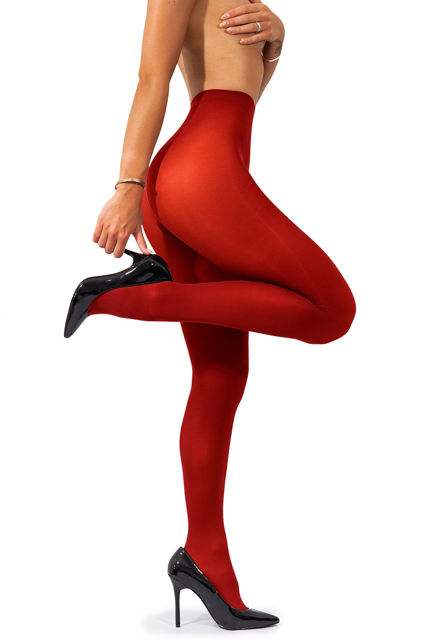 90b21311fd502 sofsy Opaque Microfibre Tights for Women - Invisibly Reinforced Opaque  Brief Pantyhose 40Den [Made In Italy] Red 4 - Large - MICRO-TIGHTS-SATIN-40-RED4  ...
