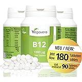 Vitamin B12 1.000 µg, B6 + Folsäure | 180 Tabletten | Sinnvolle B-Vitamin Kombination | Hochdosiert | Methylcobalamin | Vegan ohne künstliche Aromen und Gelatine | Vegavero: from Nature - with Passion - for You!