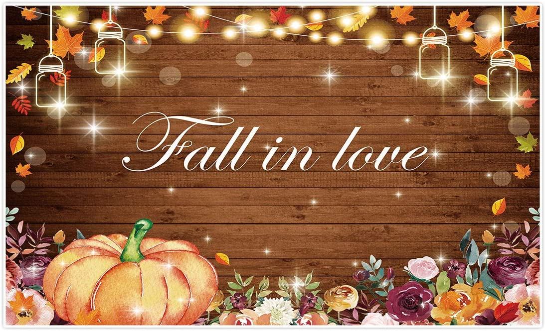 Allenjoy 5x3ft Fall in Love Theme Photography Backdrop for Wedding Party Decor Background Gold Glitter Lights Autumn Maple Leaves Pumpkin Rustic Wood Banner for Bridal Shower Photo Booth Props