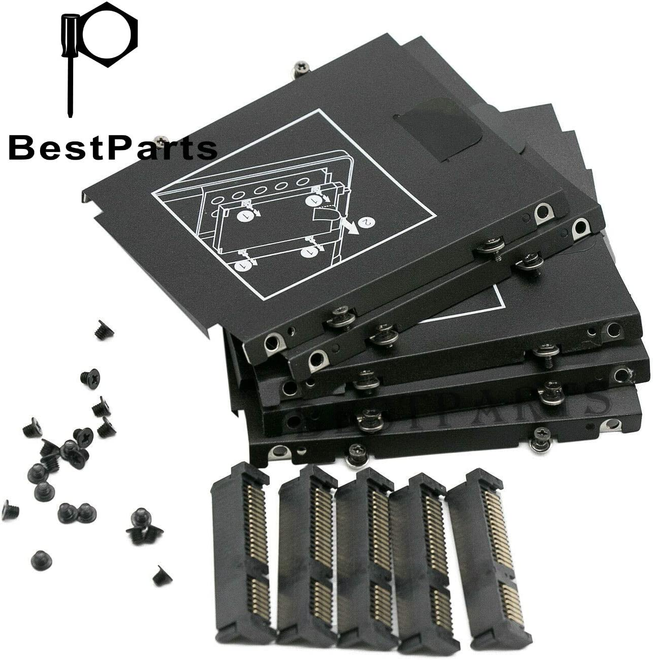5PCS Kit BestParts for HP EliteBook Folio 9470M 9480M 9460M 9470 9480 Hard Drive Caddy Bracket +HDD SATA Connector