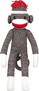 Plushland Brown Original Sock Monkey, Adorable Hand Knitted Stuffed Animal Toy Gift-for Kids, Babies, Teens, Girls and Boys Baby Doll Present Puppet 20 Inches