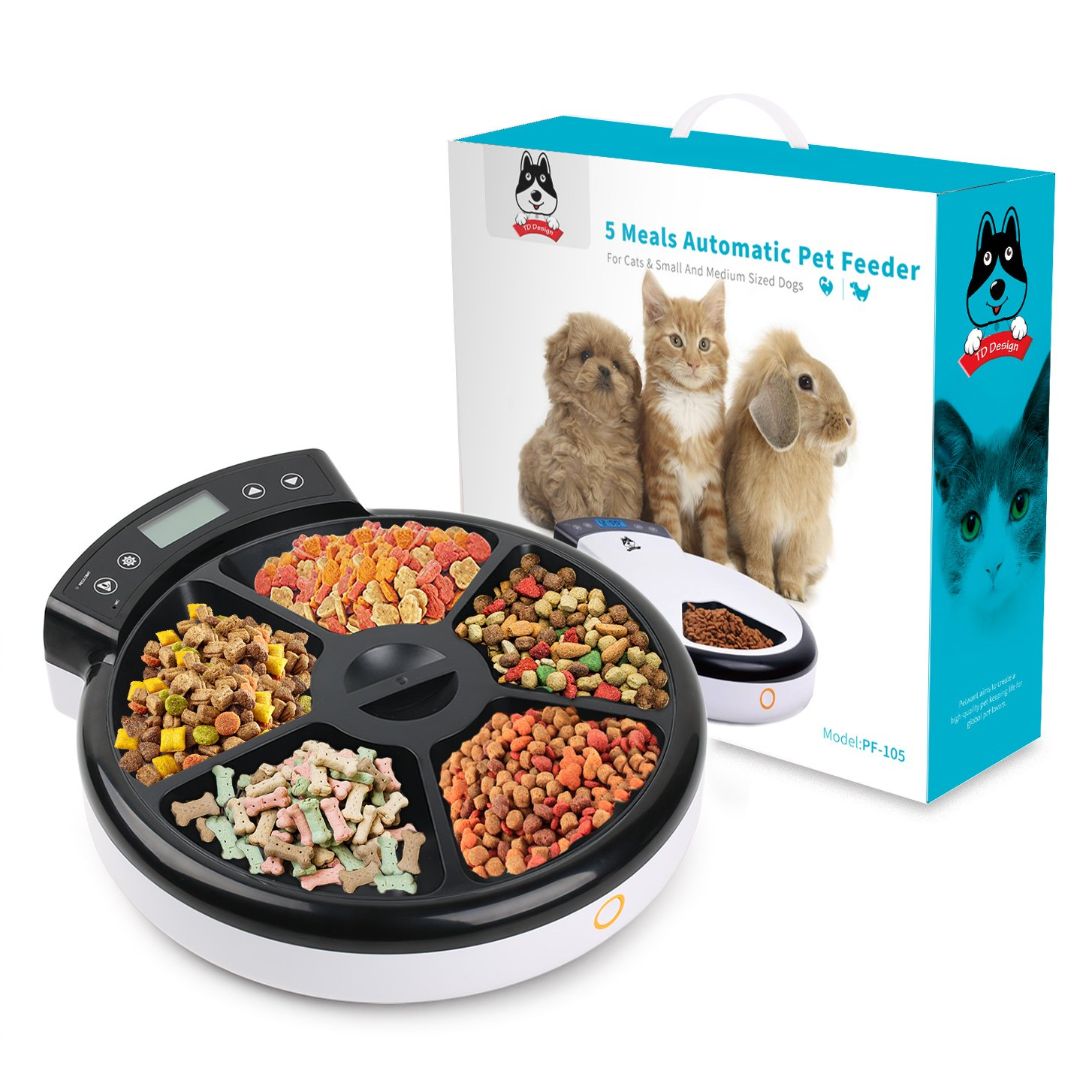 TDYNASTY DESIGN Automatic Pet Feeder for Dogs & Cats | Dry & Wet Food - 5 Meals, 5 x 240ml by TDYNASTY DESIGN (Image #3)