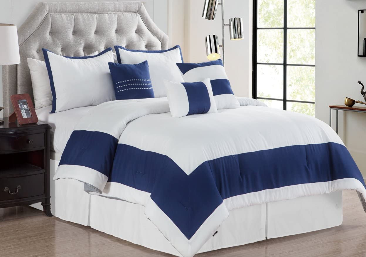 Empire Home 7 Piece Solid Soft Oversized Comforter Set 21210 (White / Navy, Queen)