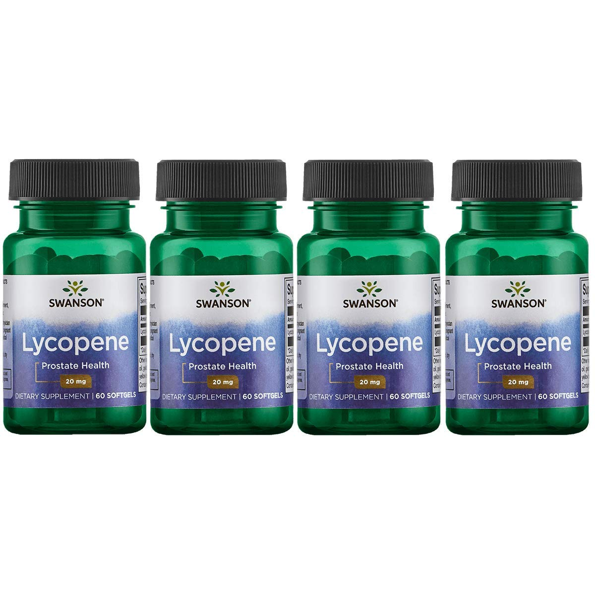 Swanson Lycopene Supplement, Prostate Health Supplement 20 mg, 60 Softgels (4 Pack)