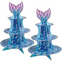 Beistle 53429 - Soporte para cupcakes, diseño de sirena, 40,6 cm, multicolor