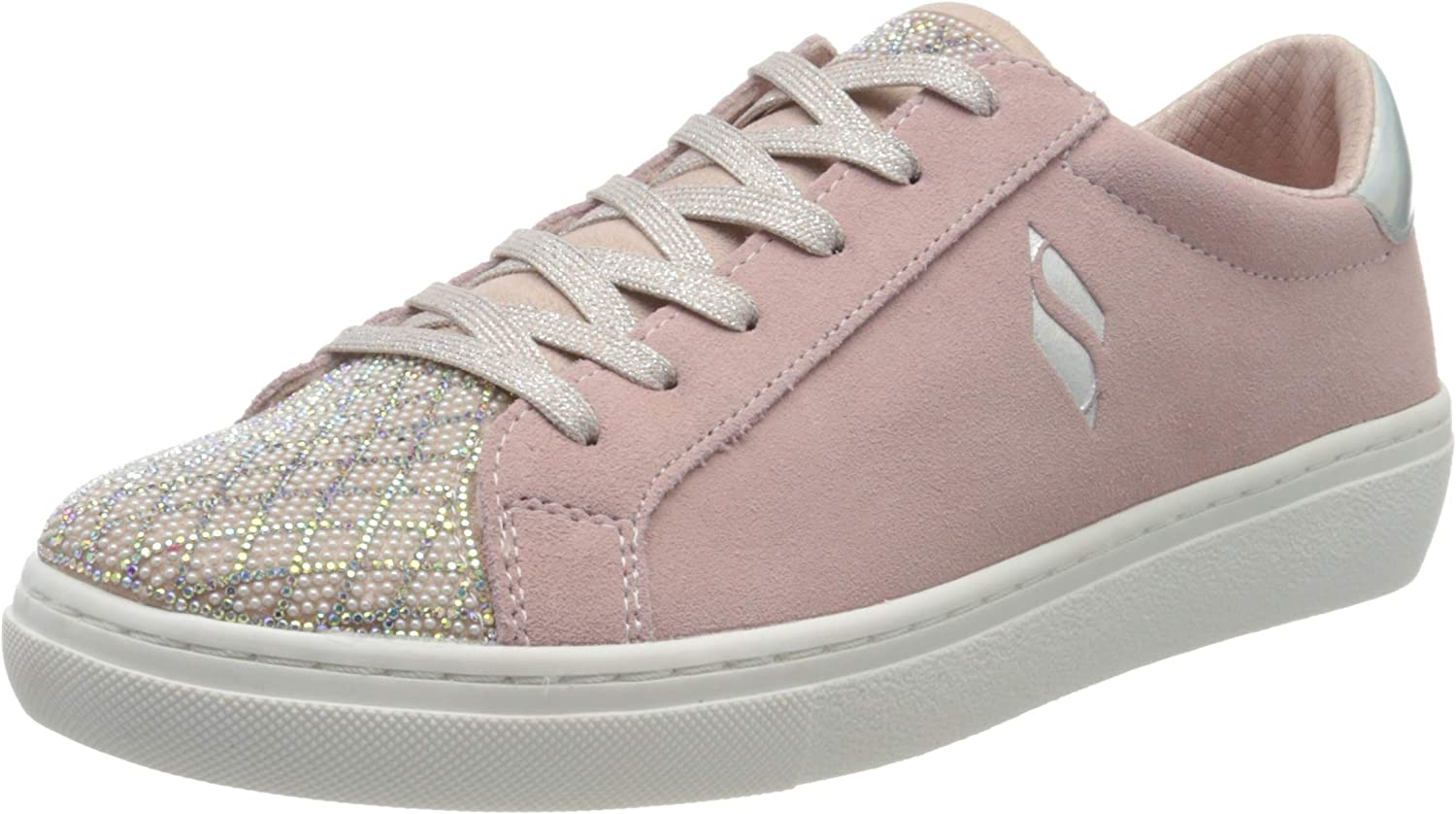 Shiny Quilter Pink Leather Lace Up