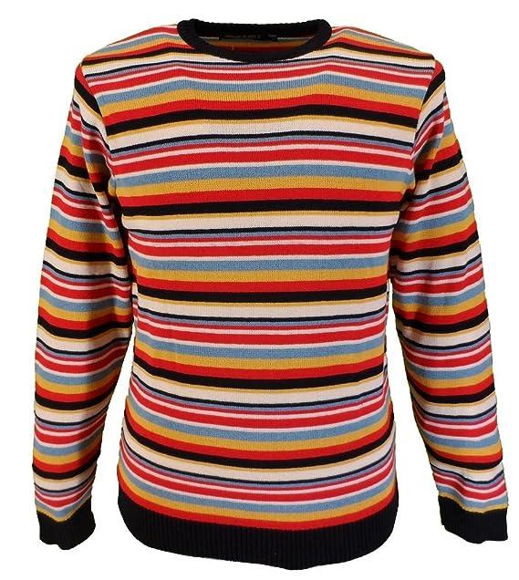 Mazeys Mens Retro 60s Repeat Multi Stripe Jumper Amazon Co Uk Clothing