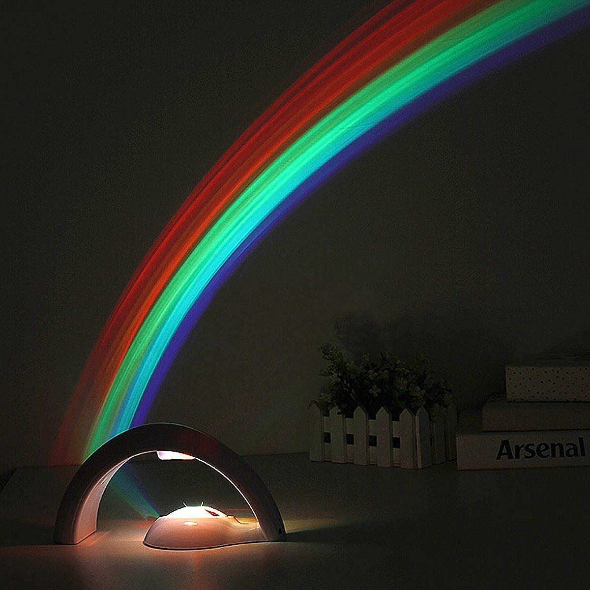 Amteker Regenbogen Projektor LED Licht Reflexion, Magisches Buntes Regenbogen Licht, Kinderzimmer Projektor Licht - Glücklicher Regenbogen - Geschenk für Kinder