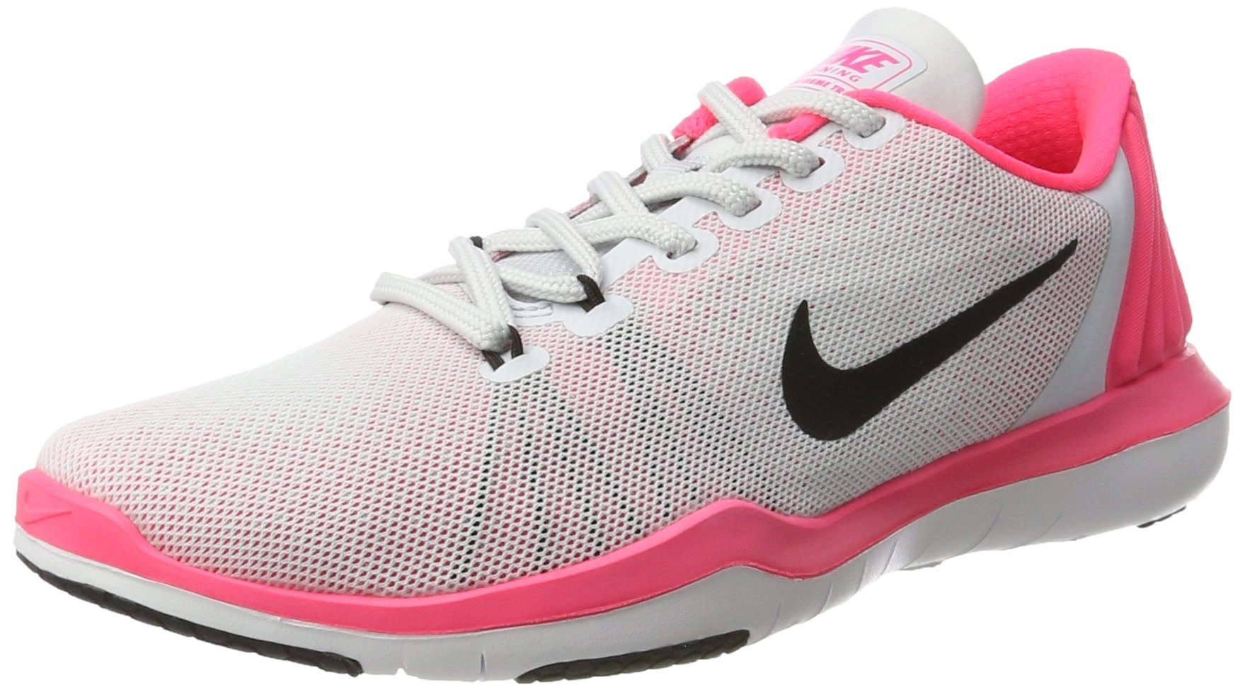 Nike Women's Flex Supreme TR 5 Cross Trainer, Pure Platinum/Black/Racer Pink/Wolf Grey, 6.5 B US